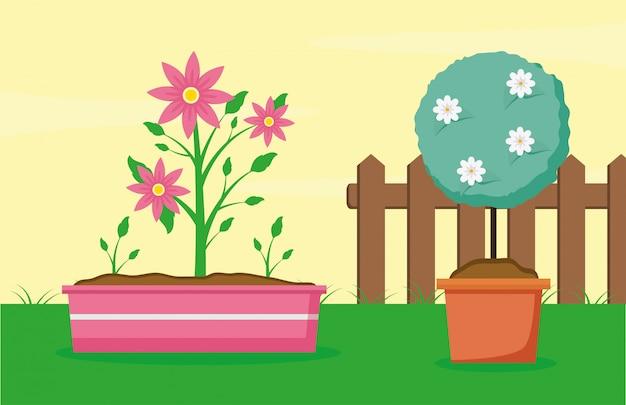Plants in the garden Free Vector