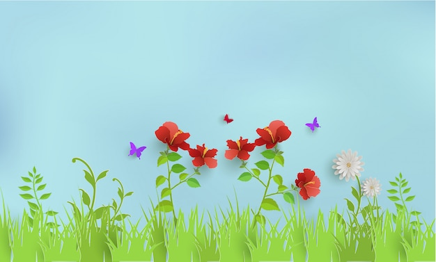 Plants and grass in spring. there are butterflies and beautiful sky Premium Vector