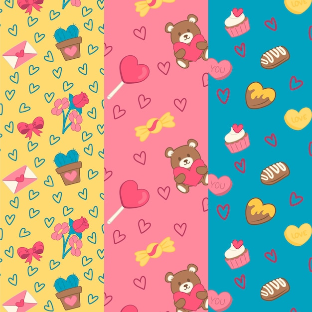 Plants and sweets valentine's day pattern collection Free Vector