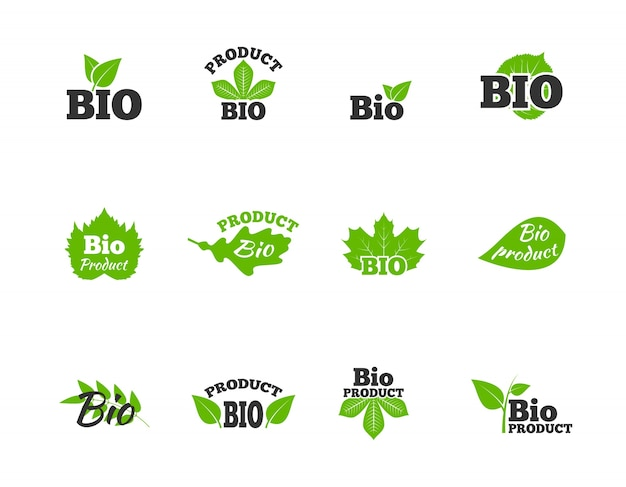 Plants and trees green leaves natural ecosphere bio products labels pictograms collection flat abstract isolated vector illustration Free Vector