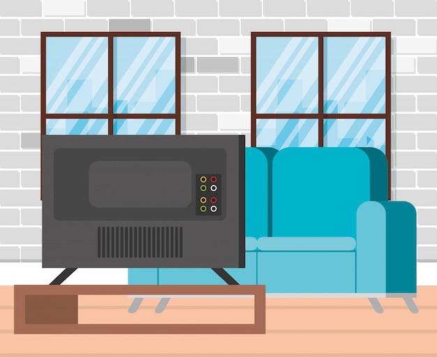 Plasma tv back in livingroom Free Vector