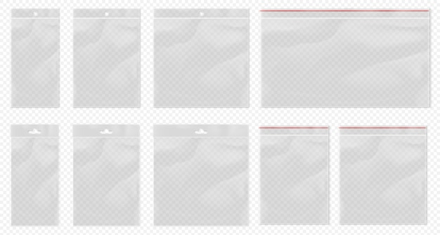 Plastic bag transparent. clear pouch isolated. blank transparent bag set with bopp package and ziplock packaging pocket. realistic empty polypropylene bags with euro suspension for retail Premium Vector