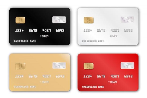 Plastic bank card design template set. realistic detailed credit cards set Premium Vector