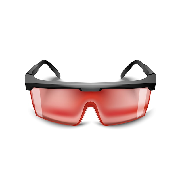 Plastic black safety red glasses on white background. working goggles eye protection gear for construction, medicine and sports Premium Vector