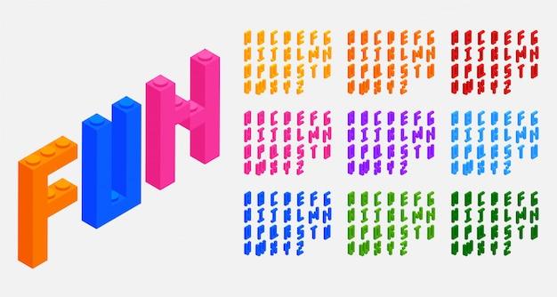 Lettere di alfabeti dei giocattoli dei mattoni dei blocchi di plastica messe Vettore gratuito