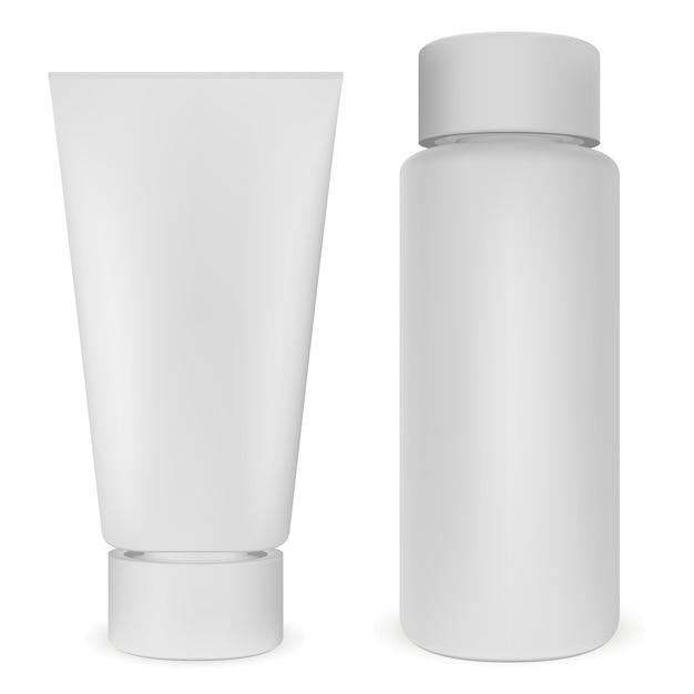 Plastic bottle and tube set. white cosmetic vector Premium Vector