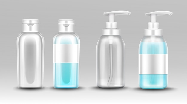 Plastic bottle with dispenser pump for liquid soap Free Vector