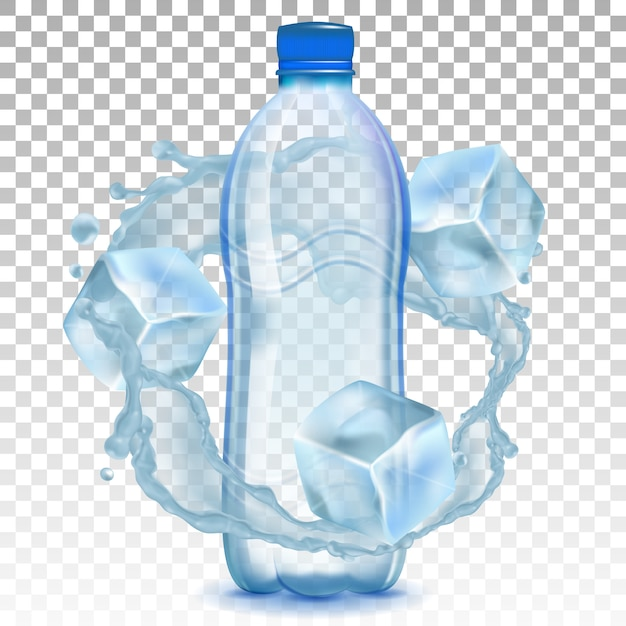 Plastic bottle with water and ice cubes. Premium Vector