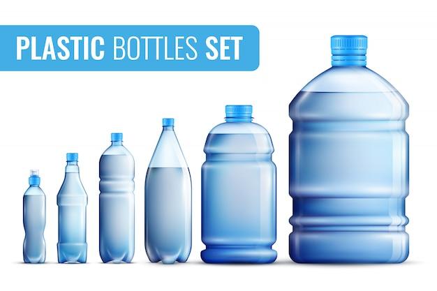 Пластиковые бутылки icon set Бесплатные векторы