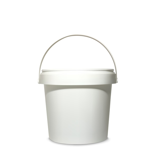 Plastic bucket illustration of 3d realistic white container for mockup model of brand package Free Vector