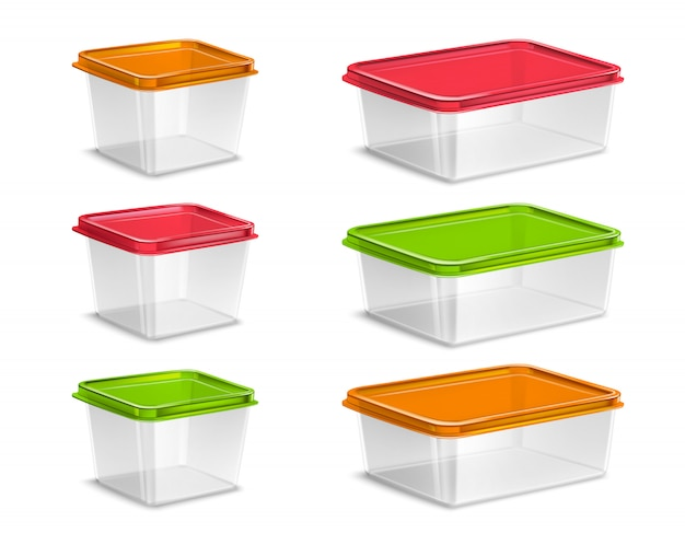 Plastic colored food containers set realistic isolated Free Vector
