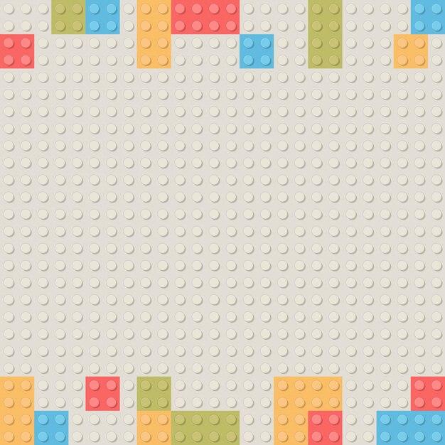 Plastic construction block background. children toy building block bricks. Premium Vector