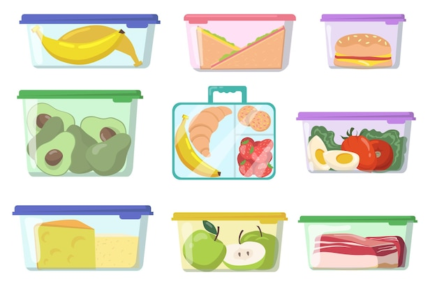 다양한 식품 평면 세트가있는 플라스틱 용기 무료 벡터