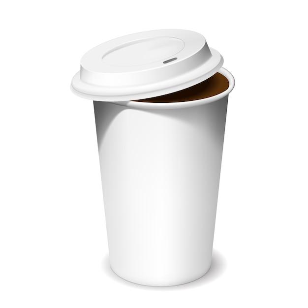 Пластиковая чашка кофе с открытой крышкой в тени Бесплатные векторы