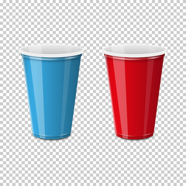 Plastic cup for single use. Premium Vector