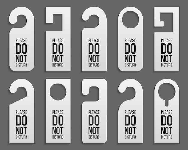 Plastic door handle lock hangers - do not disturb. Premium Vector