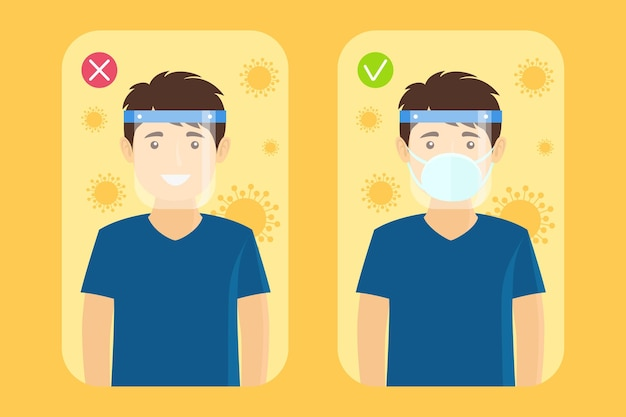 Plastic face shield and mask on man Free Vector
