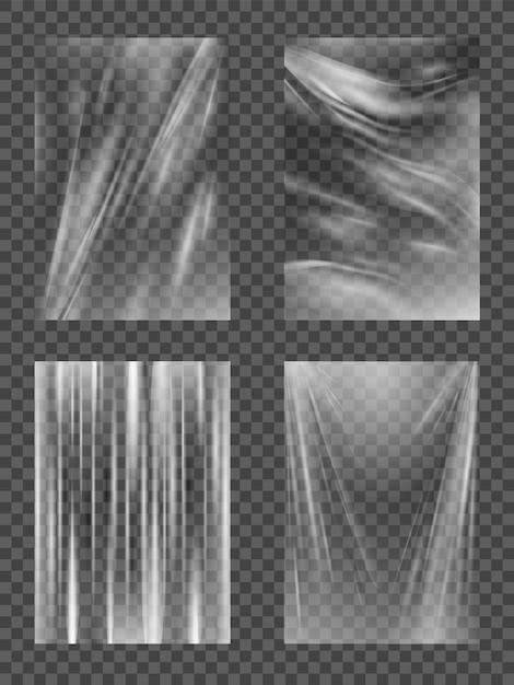 플라스틱 필름, 투명 셀로판 스트레치 랩, 사실적인 구겨진 또는 접힌 질감의 음식 상자. 프리미엄 벡터