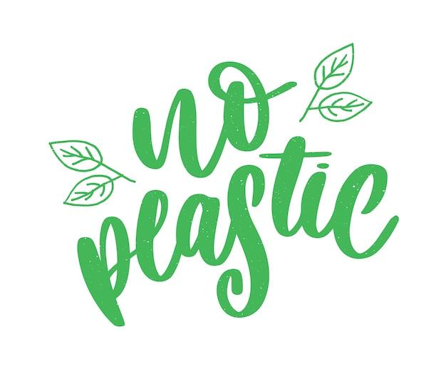 Plastic free product signlabels, stickers no plastic lettering Premium Vector