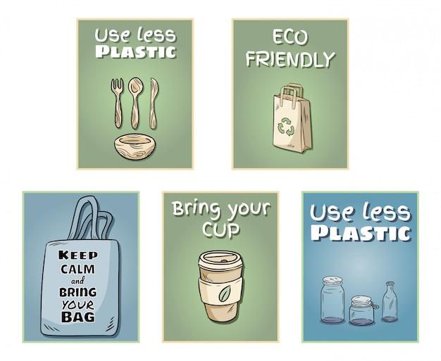 Plastic free set of posters Premium Vector