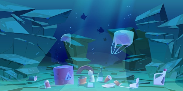 Plastic garbage on ocean bottom. sea floor with different kinds of trash. Free Vector