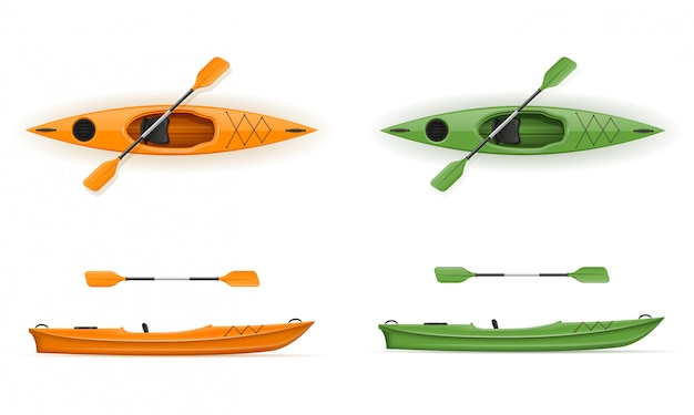 Plastic kayak for fishing and tourism vector illustration Premium Vector