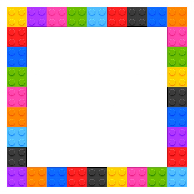 Plastic kids blocks frame with copyspace Free Vector
