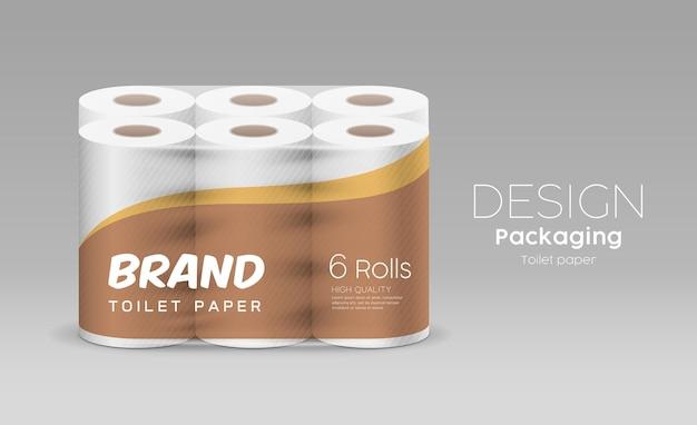 プラスチック製の長いロールティッシュペーパー1パッケージ6ロール、灰色の背景に茶色と黄色のデザイン、イラスト Premiumベクター