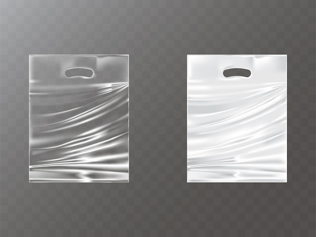 Plastic packets with hand hole realistic Free Vector