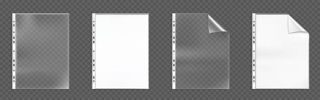 Plastic punched pockets, empty folders with folded corner and holes, bags with white blank sheets isolated on transparent background Free Vector