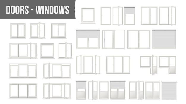 Plastic pvc windows doors set Premium Vector