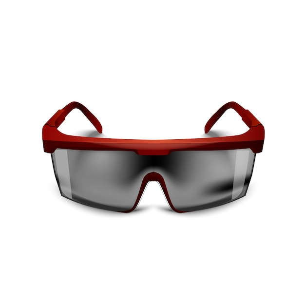 Plastic red safety black glasses on white background. working goggles eye protection gear for construction, medicine and sports Premium Vector