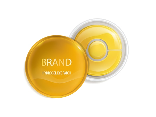 Plastic round jar with set of patches for eyes, with gold and hydrogel. Free Vector