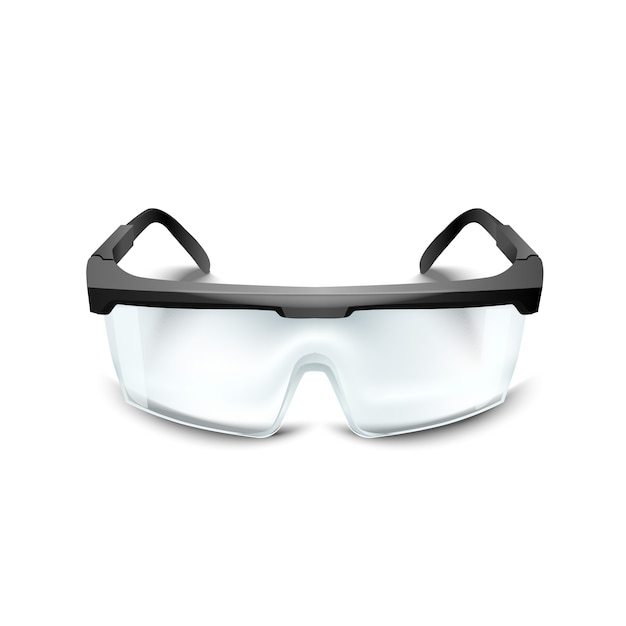 Premium Vector Plastic Safety Glasses On White Background Working Goggles Eye Protection Gear For Construction Medicine And Sports