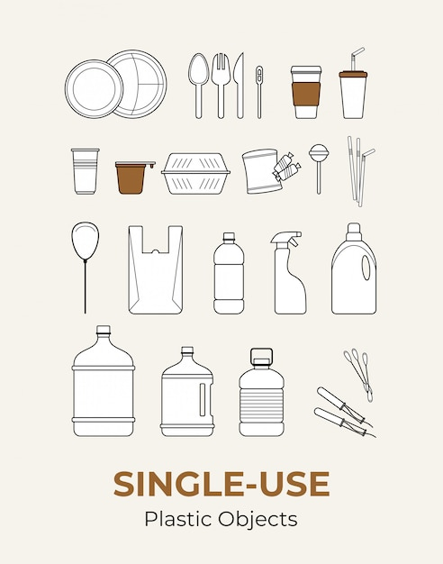 Plastic single-use objects. set of recycling plastic items. food and household plastic packaging flat icons for ecological Premium Vector