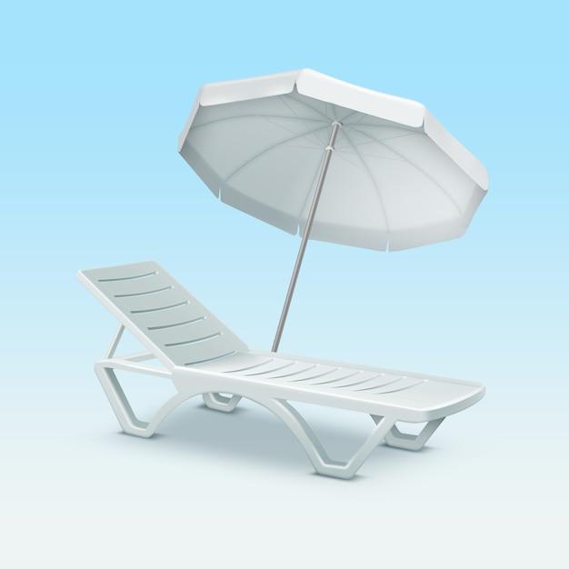 Пластиковый шезлонг с белым пляжным зонтиком на синем градиентном фоне Premium векторы