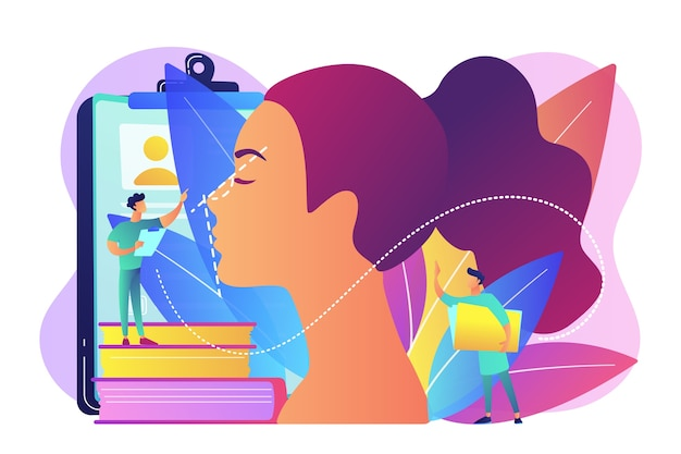 Пластический хирург корректирует форму женского носа для ринопластики. ринопластика, процедура коррекции носа, концепция хирургической ринопластики. Бесплатные векторы