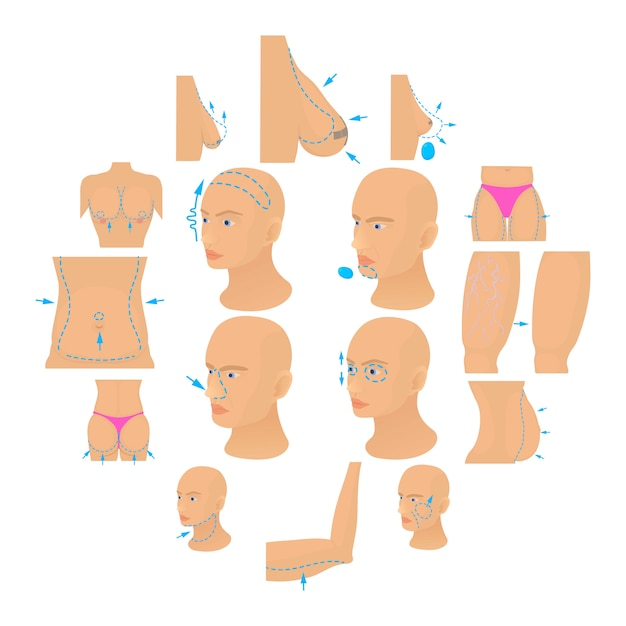Plastic surgeon icons set body, cartoon style Premium Vector