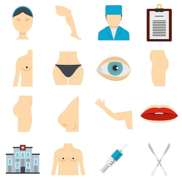 Plastic surgeon icons set in flat style Premium Vector