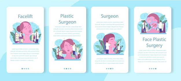 성형 외과 의사 모바일 응용 프로그램 배너 세트입니다. 몸과 얼굴 교정에 대한 아이디어. Rhinoplastyin 병원 및 노화 방지 절차. 프리미엄 벡터