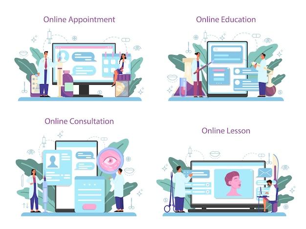 성형 외과 의사 온라인 서비스 또는 플랫폼 세트. 몸과 얼굴 교정에 대한 아이디어. 온라인 예약, 교육, 수업, 상담. 프리미엄 벡터