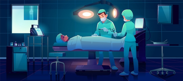 Plastic surgeon operating patient in surgery room Free Vector