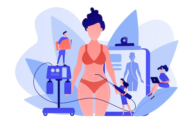 흡입 튜브가있는 성형 외과 의사는 여성의 신체 부위를 지방 흡입합니다. 지방 흡입, 지방 수술, 지방 제거 수술 개념. 분홍빛이 도는 산호 bluevector 고립 된 그림 무료 벡터