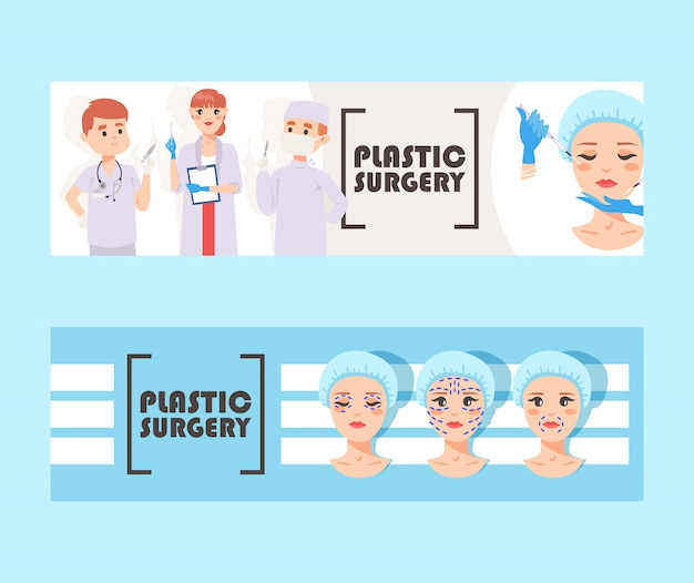 Plastic Surgery Banner Vector Illustration Face Correction Doctors Stuff With Equipment Liposuction Of Cheeks Eyes And Lips Face Cosmetology Beauty Health Procedure Body Surgery Premium Vector