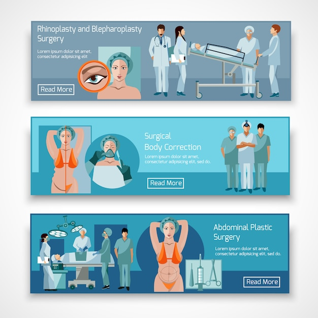 Plastic surgery concept 4 flat icons square Free Vector