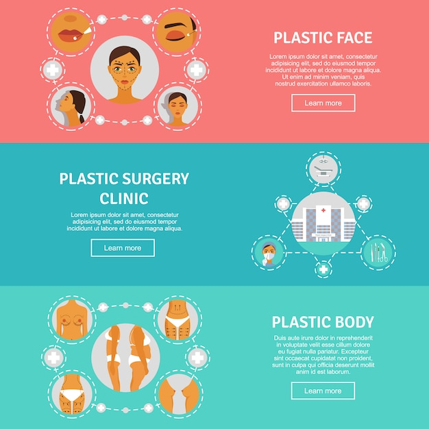 Plastic surgery concept horizontal banners set Free Vector