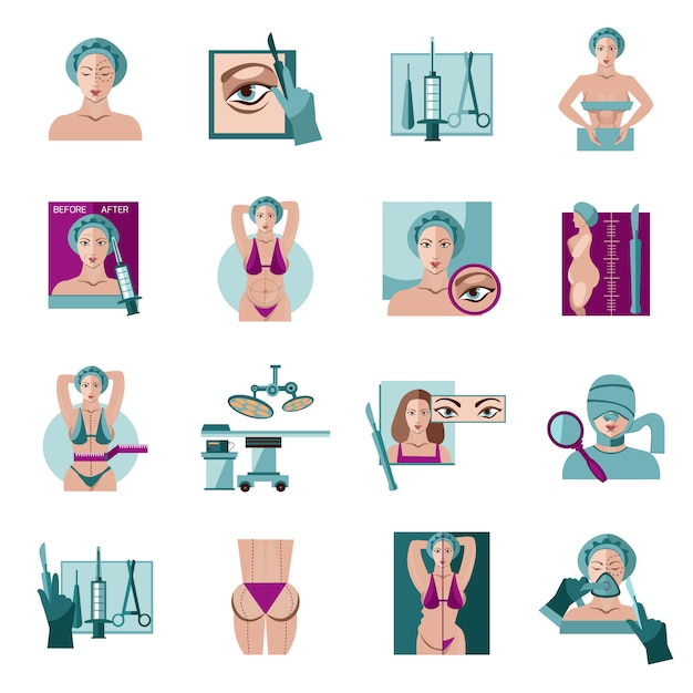 Plastic surgery flat icons set Free Vector