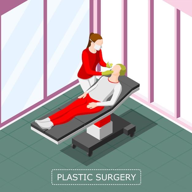 Plastic surgery isometric background Free Vector