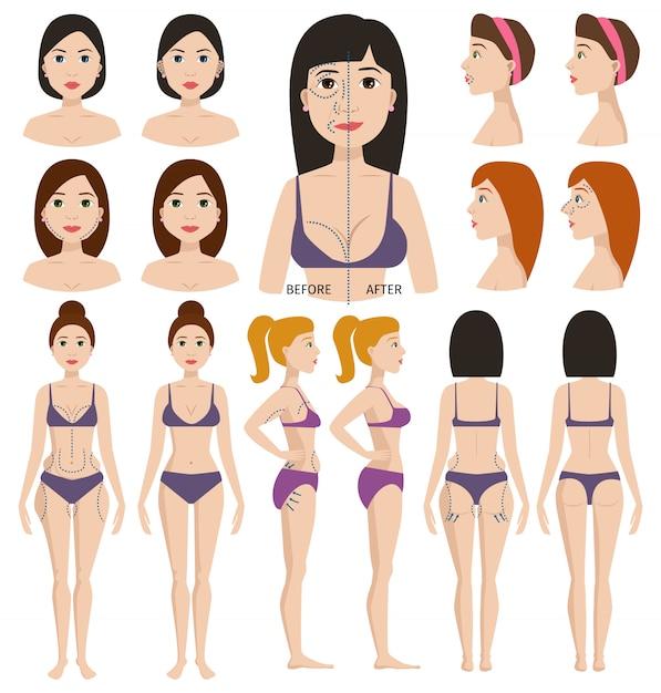 Plastic surgery woman character Premium Vector