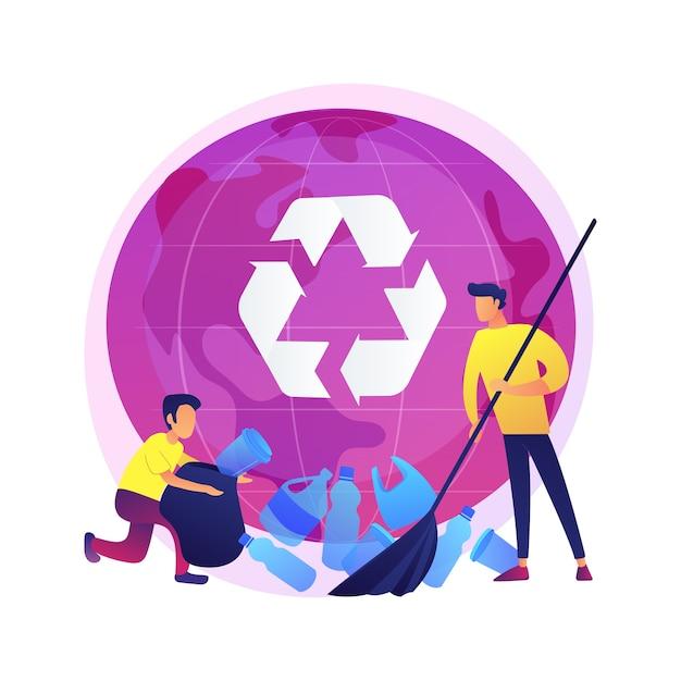 プラスチックのごみの分別。アイデアのリサイクルと再利用。ペットボトルを集める男。ゴミ箱、ゴミの分別、エコロジー保護。 無料ベクター